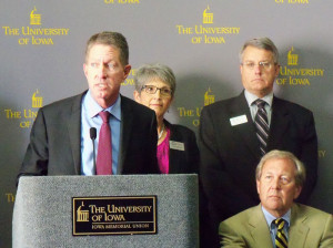 Board of Regents President Bruce Rastetter talks about new U-I President Bruce Harreld (left).