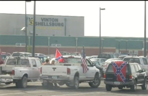 Confederate flags on vehicles in the Vinton-Shellsburg parking lot.