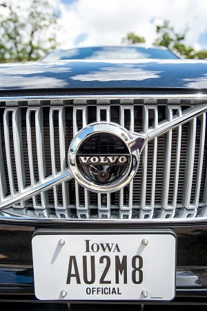 A camera which aids automotive safety technologies is shown on a Volvo XC90. Photo by Justin Torner