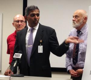 ISU professor David Swenson, Dr. Yogi Shah of DMU & UI professor David Osterberg. (L-R)
