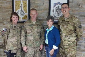 Senator Joni Ernst visited soldiers on her trip to the Middle East.