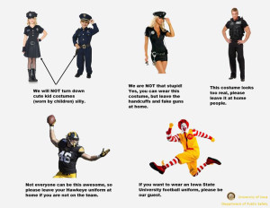 The University of Iowa posted these costume guidelines on their Facebook page.