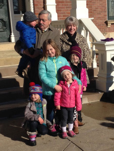 Governor Terry Branstad and first Lady Chris Branstad and their grandkids.