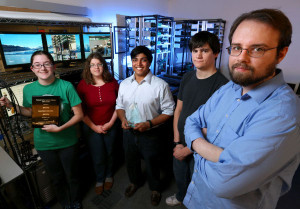 ISU Cyber Team: Steffanie Bisinger, Angela McMahon, Sambhav Srirama, Matt Brown and Jason Johnson. (L-R)