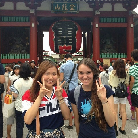 At right, Iowan & current scholarship winner Devyn Christoffer visits a Japanese temple with a friend.