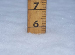 Snowfall level in Le Mars Monday.