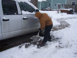 Shoveling out in Le Mars.