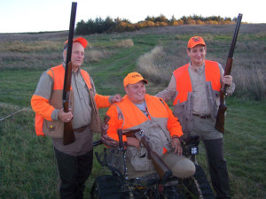 Iowa Congressman Steve King (left) and Texas Senator Ted Cruz with Iraqi war veteran Michael Zimmerman of Minnesota during King's pheasant hunt held on October 31st.