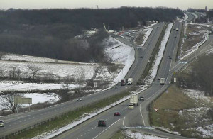 Interstate 80 traffic camera view. More snow could greet Thanksgiving travelors.