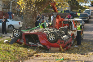 Two people died after this stolen car crashed in Sioux City.