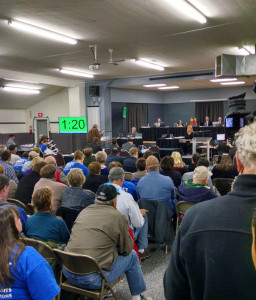 Hundreds have packed the Community Center Building at the Boone Fairgrounds for the Baaken pipeline hearing.