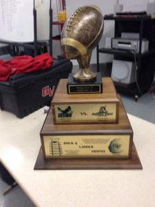 The Rock and Ladder Trophy is presented annually to the winner of the game between William Penn and Grand View