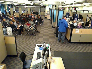 DOT camera showing people waiting at the Ankeny Driver's License station.