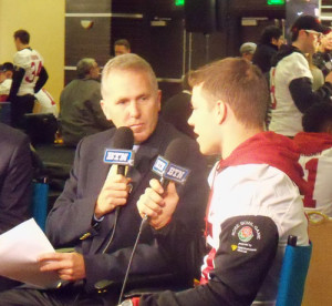 Chuck Long interviewing Stanford's Christian McCaffrey.