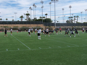 Iowa players practicing in California.