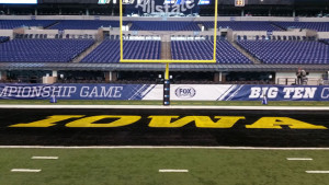 End zone painted in Hawkeye colors.