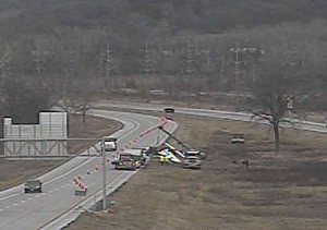 DOT traffic camera shows the plane wreckage on I-29.