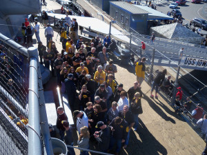 Iowans lined the decks of the USS Iowa.