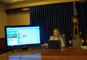 A student shows Lt. Governor Reynolds the coding process. (file photo)