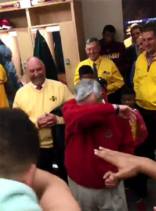 Governor Terry Branstad doing the Dab in the Cyclone locker room.