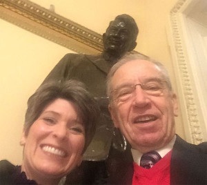 A selfie of Senators Joni Ernst and Chuck Grassley tweeted by Grassley prior to the State of the Union address.