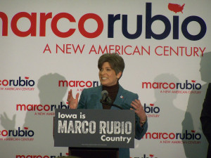Joni Ernst introducing fellow U.S. Senator Marco Rubio.