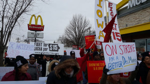 Fast food workers in Des Moines want their pay upped to $15 an hour.