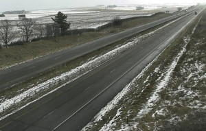 View of I-80 in Johnson County from a DOT traffic camera.