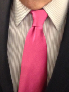 Governor Terry Branstad's pink tie in honor of the first female Speaker of the Iowa House.