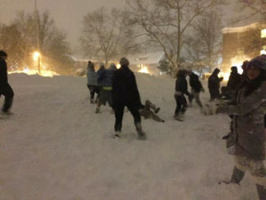 Remsen St. Mary's students play in the snow while stranded in Washington, D.C.