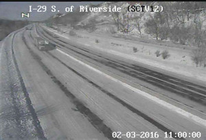 DOT camera in Sioux City shows snow on Interstate 29.