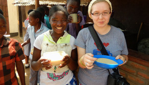 Allison Ockenfels (right) at the Jacaranda School in Blantyre, Malawi.