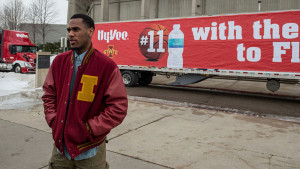Monte Morris with semi packed with bottled water.