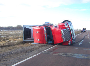 This truck was blown over by heavy winds on Highway 75 south of Merrill.