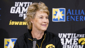 Iowa Hawkeyes Head Coach answers questions during her weekly news conference Tuesday, November 17, 2015 at Carver-Hawkeye Arena. (Brian Ray/hawkeyesports.com)