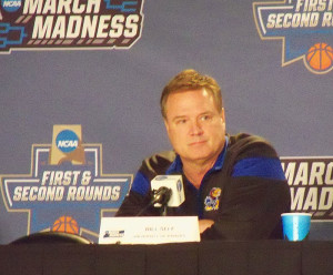 Kansas Coach Bill Self talks with the media Wednesday.