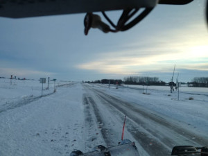 DOT snowplow camera in northwest Iowa.