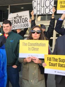 Protesters outside Senator Chuck Grassley's office.