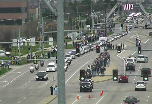 View of funeral procession from a DOT camera.