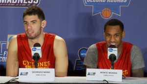 Georges NIang and Monte Morris talk to the media.