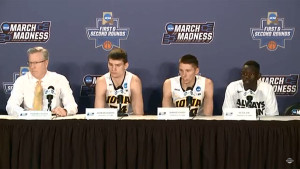 Coach McCaffery, Adam Woodbury, Jared Uthoff and Peter Jok after win over Temple.