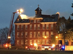 Fire damaged Visitation Hall on the Loras College campus. (KCRG TV Photo)