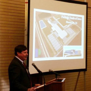 Ron Prestage explains the hog plant proposal for Mason City. (file photo)