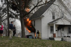 An outdoor cooker caught this Sioux City home on fire.