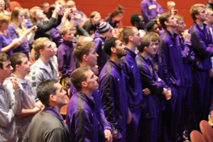 UNI players wait for their name during the NCAA selection show.