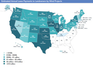 AWEA map of wind dollars paid in each state. (click to make larger)