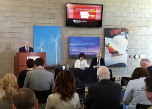 Governor Terry Branstad speaks at the MidAmerican wind farm announcement.