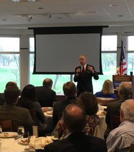 Senator Chuck Grassley speaking in Des Moines.