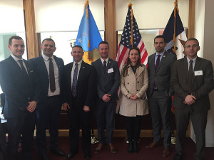 Members of the Kosovo delegation at the Republic of Kosovo Consulate in Des Moines.