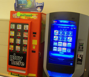 An old lottery machine on the left, and the new one that will replace it.